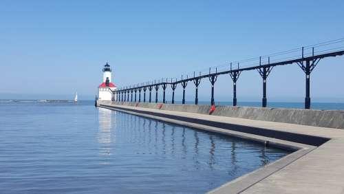 Indiana Usa Lake Michigan Lighthouse Michigan City