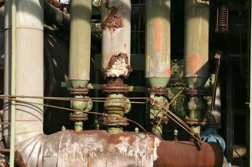 Industrial Park Pipes Rust Factory Duisburg Metal