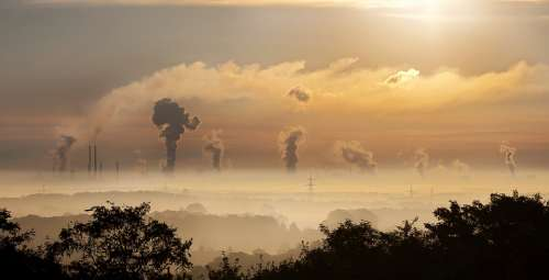 Industry Sunrise Fog Germany Factory Ruhr Area
