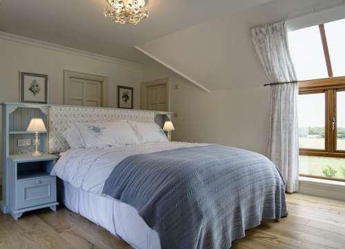 Interior Bedroom Lamp Bed Furniture Home Room