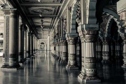 Interior Columns Architecture Indoor Classic Hall