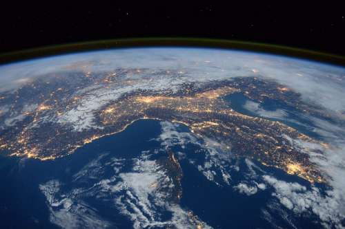 International Space Station View Space Night Earth