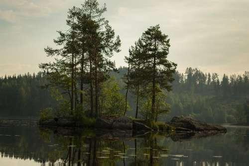 Island Water Finnish Beach Lake In Finland Lake