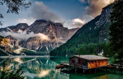 Italy Mountains Pragser Wildsee Lake Water