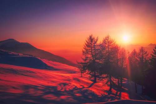 Italy Sunrise Sky Clouds Beautiful Mountains Snow