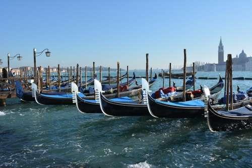 Italy Venice Boats Gondola Canal Travel Tourism