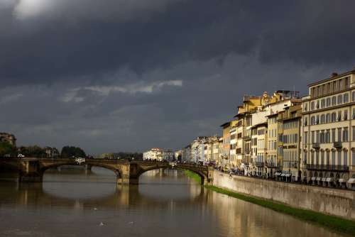 Italy Bridge River Building Channel Sky