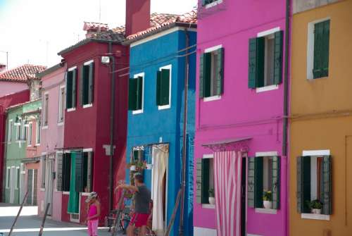 Italy Burano Island Colorful Houses Shutters Open