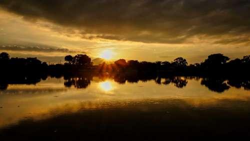Japan Kumamoto 江津湖 Sunset Lake Sun Water Light