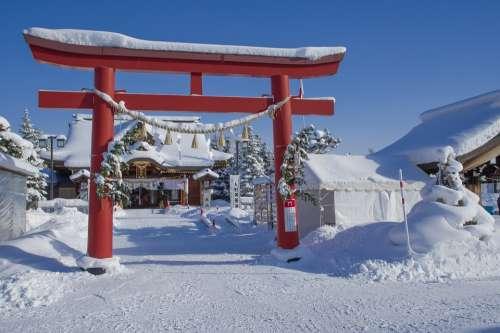 Japan Hokkaido Winter Temple Religion Buddhism