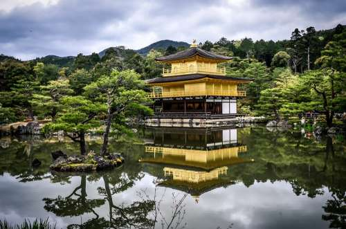 Japanese Garden Temple Pagoda Tranquil Pond
