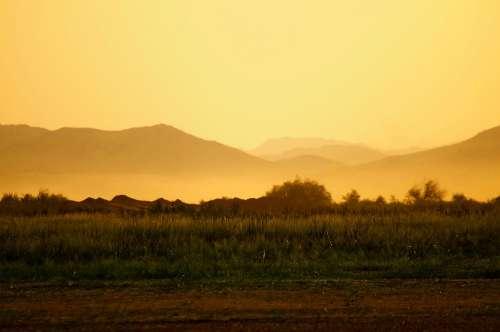 Jeddah Dawn Yellow Sky Nature Landscape Mountains