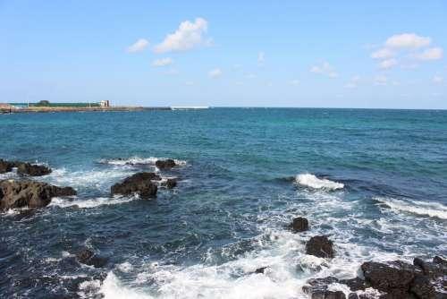 Jeju Island Waves Sea Jeju Sea Sky Beach