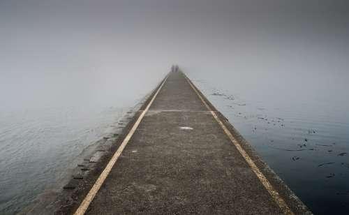 Jetty Fog Pier Dawn Lake Light Ocean Pavement