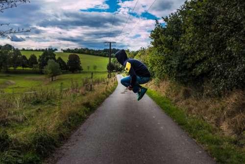 Jump Out Sky Joy Happy Fun Adult Road Man