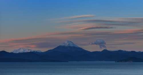 Kamchatka Sea Water Beach Bay Rocks Mountains