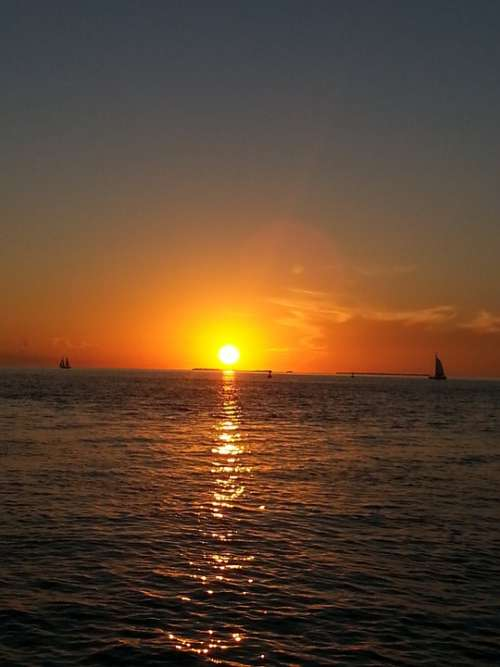 Key West Sunset Florida Ocean Tranquil Destination