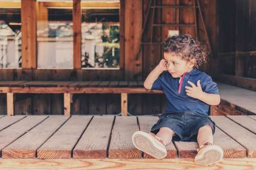 Kid Children Boy Sitting Porch Baby Kiddie