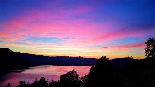 Kitsch Sunset Switzerland Train Ägeri Landscape