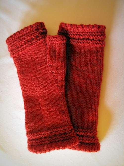 Knitt Wool Red Knitted Mitts Style Accessory