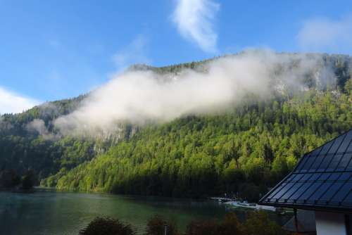 Königssee Morning Sun Fog Landscape Mountains