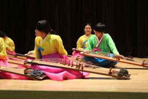 Korean Music Hanbok Musicians Stage