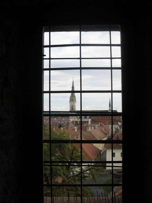 Koszeg Castle Latticed Window Vista