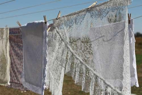 Lace Laundry Cloths Line Summer White Vintage