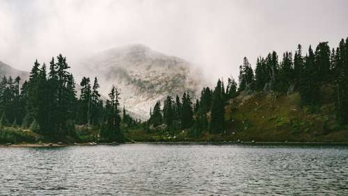 Lake Forest Mountain Foggy Landscape Nature Water