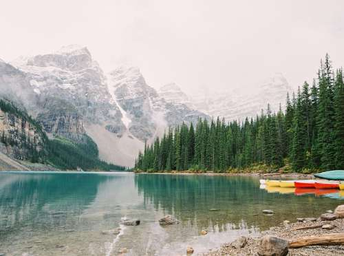Lake Landscape Mountains Mountain Peaks