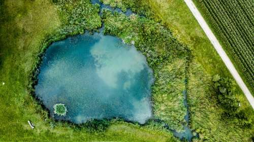 Lake Aerial View Nature Landscape Away Pond Green