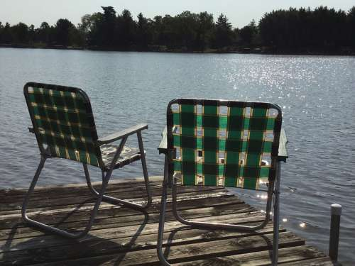 Lake Dock Water Lawn-Chair Vacation Relax Summer