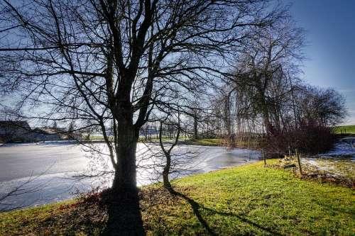 Lake Winter Ice Frozen Nature Landscape Water
