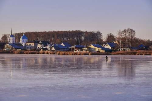 Lake Ice Fishing Beach Church Frost Winter Cold