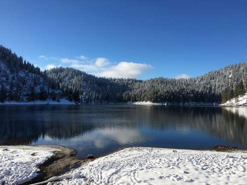 Lake Winter Landscape Snow Nature Cold Water