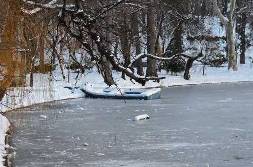 Lake Ice Winter Snow Landscape Nature Decor