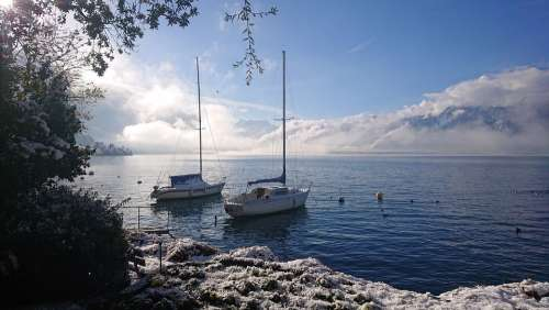 Lake Winter Boat Sailboat Cloud Sky Montreux