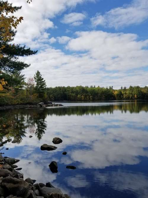 Lake Reflection Clouds Maine Sky Landscape Water