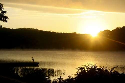 Lake Sunrise Water Landscape Summer Peaceful Dawn