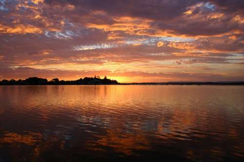 Lake Macquarie Sunset Water Beautiful Sky Clouds