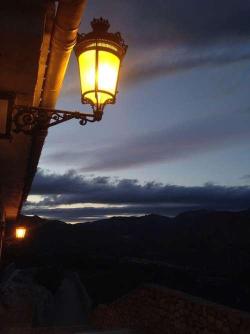 Lamp Light Sunset Landscape Twilight