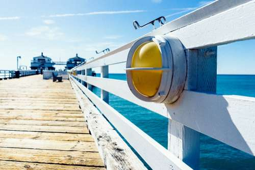 Jetty Pier Wooden Banister Ocean Sea Summer Sun