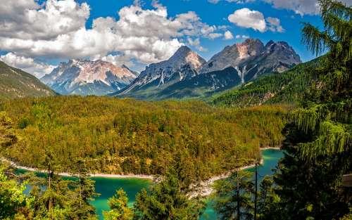 Landscape Mountains Natural Lake Summer Austria