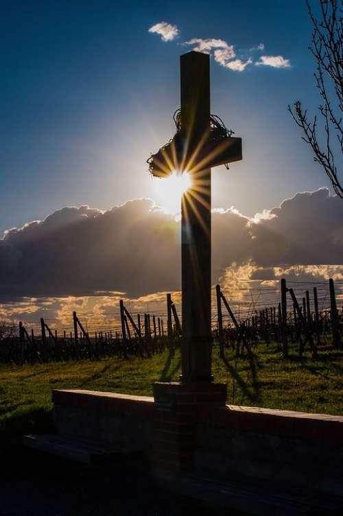 Landscape Pálava Cross Sky Sun Christ