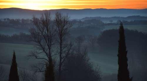 Landscape Dawn Nature Horizon