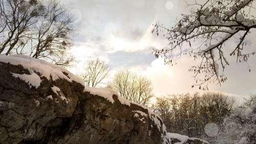 Landscape Sky Winter Snow Rocks Tree Forty