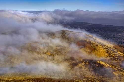 Landscape Mountain Volcano Hill Fog Winter