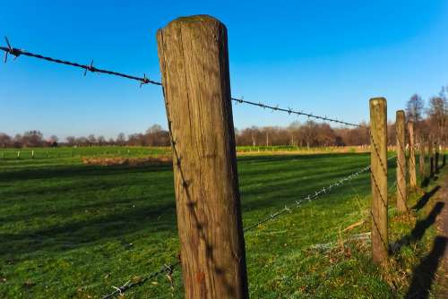 Landscape Fence Nature Field Rural Scenic Sky