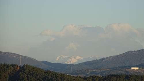 Landscape Mountains Snow Clouds Hills
