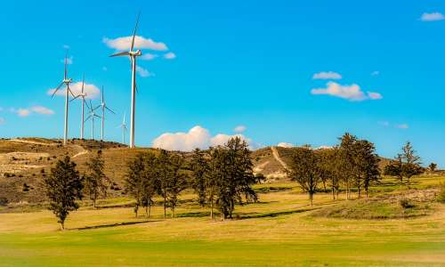 Landscape Trees Windmills Nature Sky Clouds